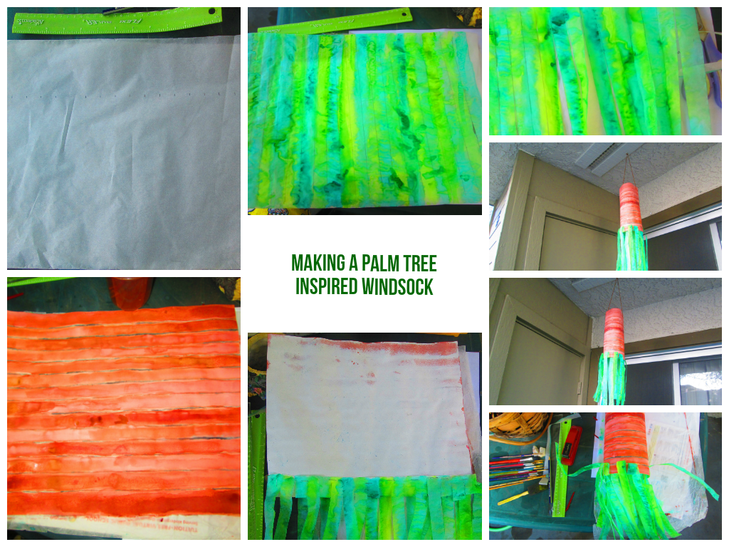 Here is an illustrated guide on how I  made a palm tree inspired windsock.